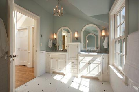 卫生间绿色背景墙美式风格装饰设计图片