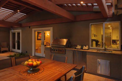 餐厅咖啡色背景墙美式风格效果图
