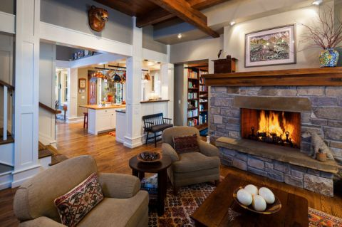 客厅咖啡色背景墙美式风格装修效果图