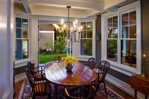 餐厅咖啡色吊顶美式风格装饰效果图