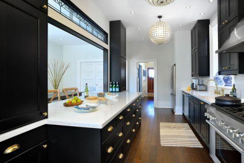 厨房黑色橱柜美式风格装潢效果图
