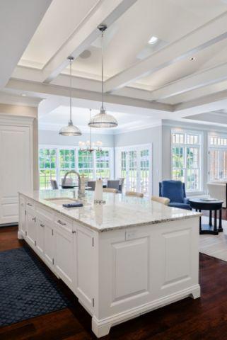 厨房白色吊顶美式风格装潢设计图片