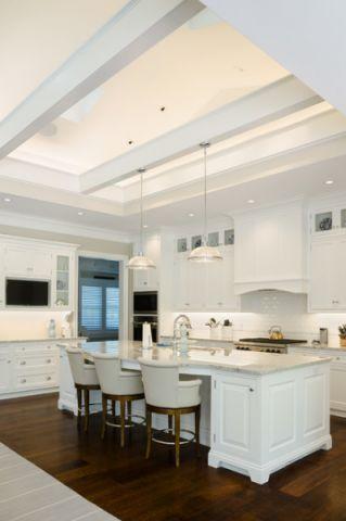 厨房白色吧台美式风格效果图