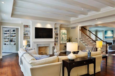 客厅米色背景墙美式风格装修效果图