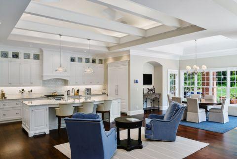 厨房白色背景墙美式风格装饰效果图