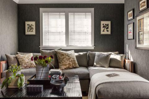客厅灰色背景墙美式风格装饰效果图