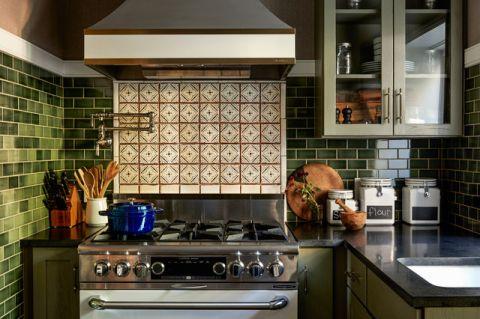 厨房绿色细节美式风格装修设计图片