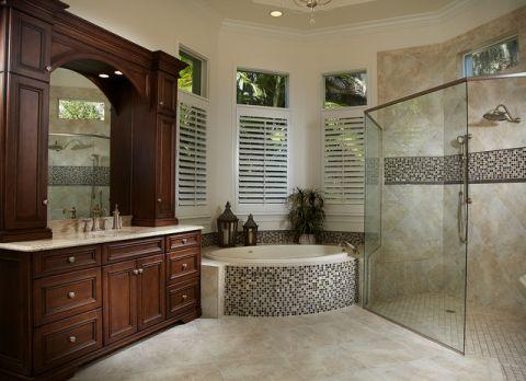 卫生间咖啡色背景墙美式风格装饰效果图