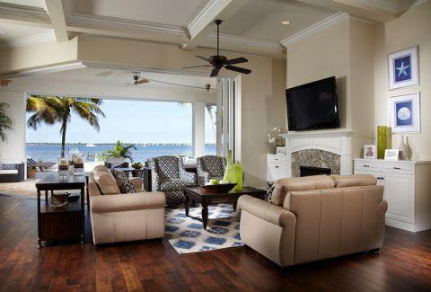 客厅米色背景墙美式风格装修图片