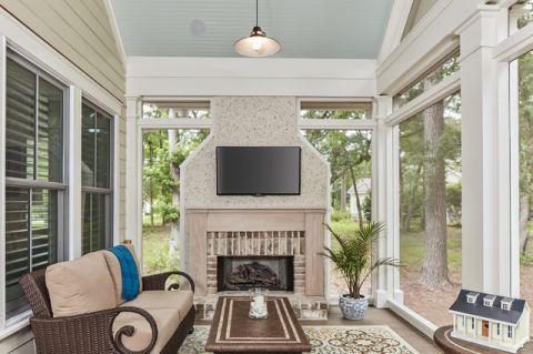客厅米色背景墙美式风格装修设计图片