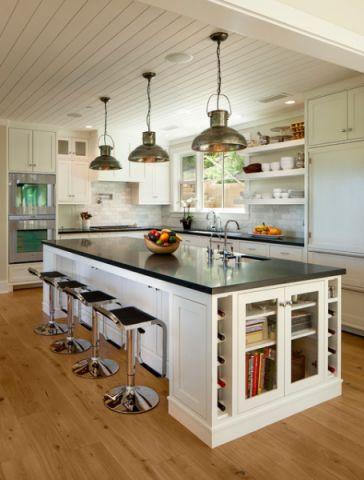 厨房米色吧台美式风格装潢设计图片