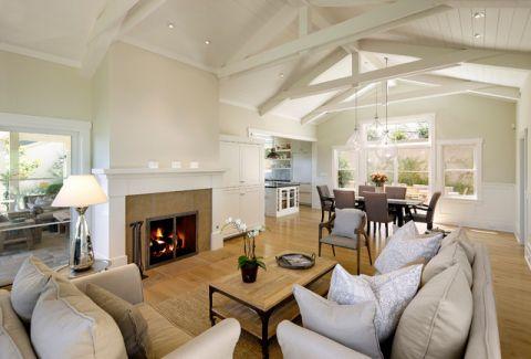 客厅米色吊顶美式风格装饰效果图