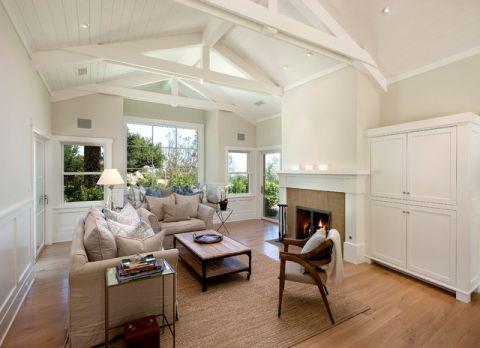 客厅米色吊顶美式风格装潢效果图