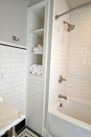 卫生间白色背景墙美式风格装饰图片