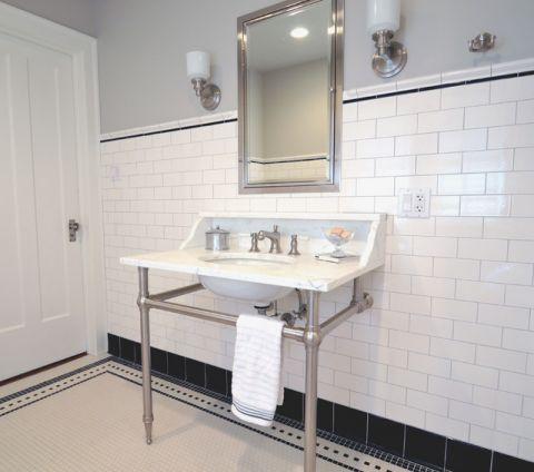 卫生间白色背景墙美式风格装修设计图片