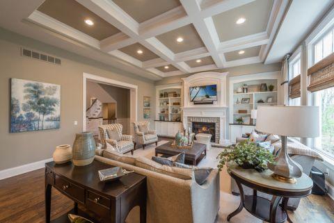 客厅米色背景墙美式风格装潢设计图片