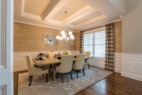 餐厅米色吊顶美式风格装饰效果图