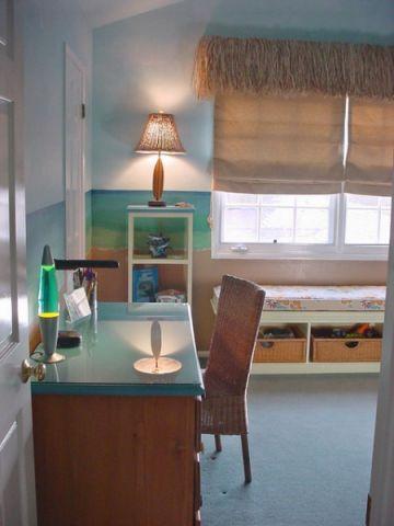 儿童房蓝色飘窗美式风格装饰效果图