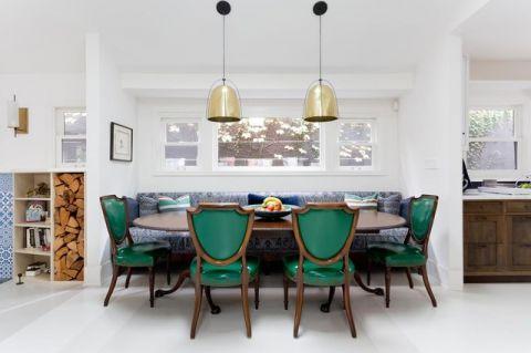 餐厅白色背景墙美式风格装饰图片