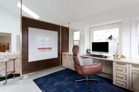 书房白色背景墙美式风格装潢图片