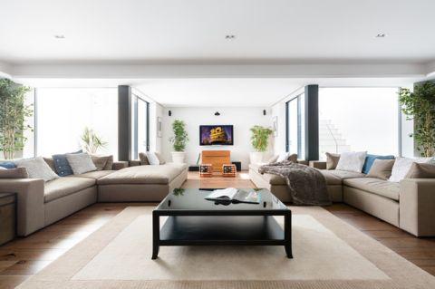 客厅白色背景墙美式风格装潢设计图片