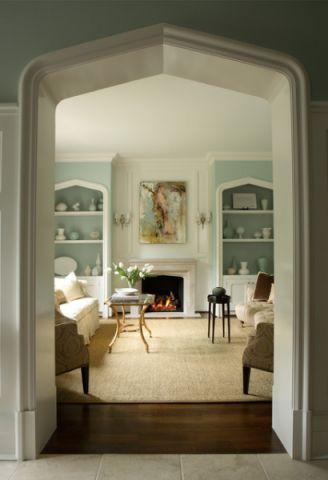 客厅绿色隔断美式风格装修设计图片