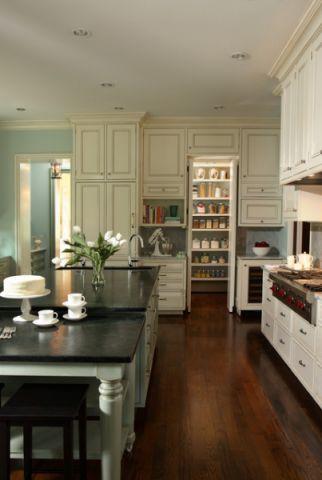 厨房绿色楼梯美式风格装饰设计图片