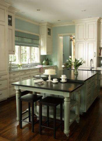 厨房绿色橱柜美式风格装潢设计图片