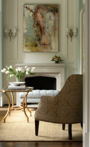 客厅绿色美式风格装饰图片