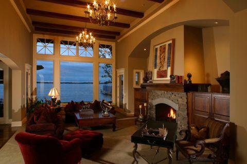 客厅咖啡色背景墙美式风格装修设计图片