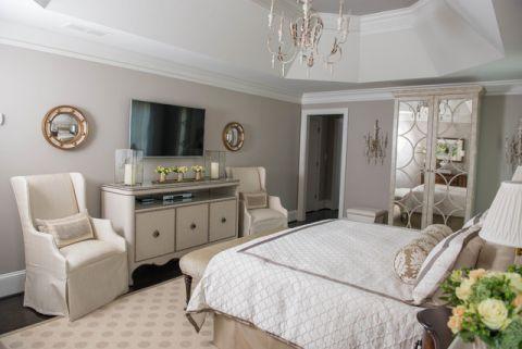 卧室白色吊顶美式风格装修效果图