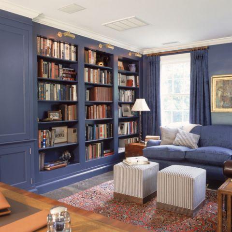 书房蓝色书架美式风格装修设计图片