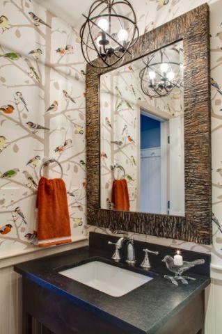 卫生间米色梳妆台美式风格装潢设计图片