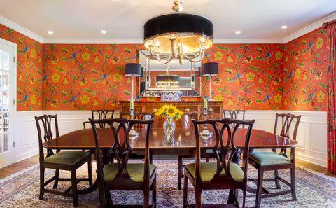 餐厅红色背景墙美式风格装饰效果图