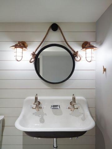 浴室白色梳妆台美式风格装潢图片