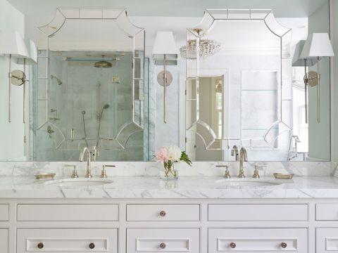 卫生间白色梳妆台美式风格装饰设计图片