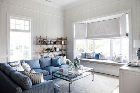 客厅白色飘窗美式风格装饰图片