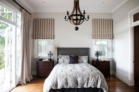 卧室白色背景墙美式风格装潢图片