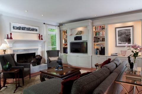 客厅白色背景墙美式风格效果图