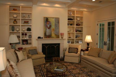 客厅米色书架美式风格装修效果图