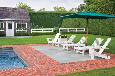 蓝色泳池简欧风格装修设计图片