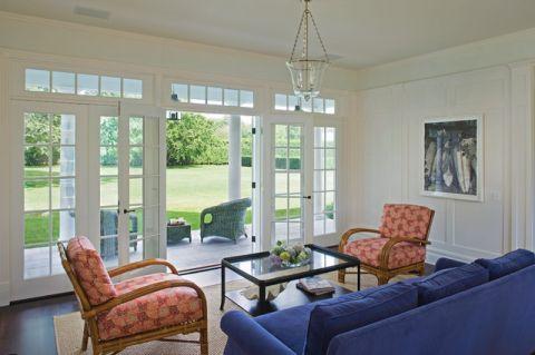 客厅蓝色简欧风格装潢设计图片