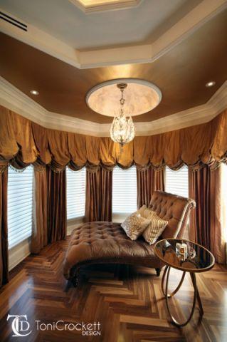 卧室咖啡色窗帘简欧风格装潢效果图
