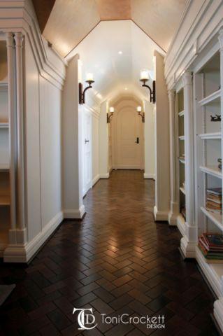 书房咖啡色走廊简欧风格装潢图片