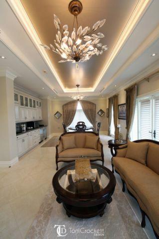 客厅咖啡色吊顶简欧风格装修设计图片
