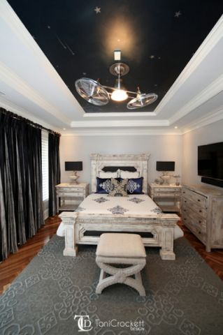 卧室黑色吊顶简欧风格效果图
