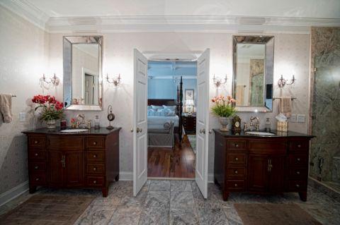 卫生间白色背景墙简欧风格装修效果图