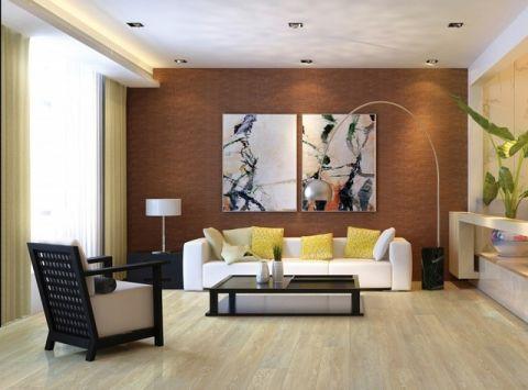 客厅咖啡色背景墙简欧风格装饰图片