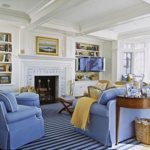 客厅蓝色细节简欧风格装饰效果图