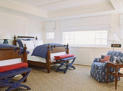 儿童房白色背景墙简欧风格装饰设计图片